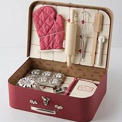 "Anthropologie - Child's Activity Kit - Cardboard, metal, wood, cloth, plasticExplorer Kit: 5""H, 11""W, 7""DBotanist Case: 4""H, 12""W, 8""DBaking Set: 13.25""W, 9.75""H Imported"