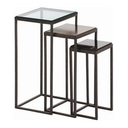 Arteriors Home - Arteriors Home Knight Small Hammered Iron Nesting Tables, Set/3 - Arteriors Home - Arteriors Home 2355 - This set of three nesting tables from Arteriors brings a variety of textures and style options to your interior. Each table has a hammered iron, rectangular frame with delicate, narrow legs. Three different tops include: glass, oxidized brass and black marble. Tables look wonderful nested inside each other or use them separately for a different look. It's three stylish pieces for the price of one.Three Tops: Glass/Oxidized Brass/Black Marble