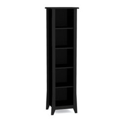 Megalak Finition Tuxedo 60 in. Slim Bookcase - Black - Stylishly slim, the Megalak Finition Tuxedo 60-inch Slim Bookcase in Black would fit perfectly in your hallway. This decorative bookcase has five open cubby spaces and three of the shelves are adjustable to suit your needs. Perfect as a stand alone decorative piece, or use it as a CD/DVD case and pair it with one of the two tuxedo TV consoles. This bookcase is well-built and features a tuxedo black lacquer finish with distinctive tapered legs.About NexeraNexera, whose name is a combination of the words next era, is a Canadian manufacturer of affordable ready-to-assemble furniture known for its innovative, cosmopolitan style. At their factory in Laval, Canada, Nexera employees utilize state-of-the-art equipment to manufacture their modern furniture collections, including bedroom collections, entertainment furniture, office furniture, and utility furniture. From start to finish, Nexera upholds high standards of care for the environment when making their furniture. All raw material (particle board) originates from FSC (Forest Stewardship Council) certified forests only, and energy used comes from renewable sources only, such as hydro-electricity and windmill power. Nexera meets the CARB (California Air Resources Board) requirements for clean air, and it recycles over 92% of its factory waste. Nexera products are packaged with 100% recycled fibers. Because of the materials they are constructed with, Nexera products are also able to be recycled at the end of their life cycle, which reduces landfill waste.