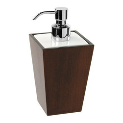 Gedy - Square Tanganika Wood Soap Dispenser - Contemporary, modern square hand lotion dispenser.