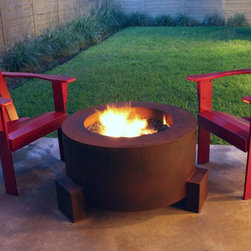 "Fire Pits - Great for Fall and Winter - The Bentintoshape 30"" Round Fire Pit is constructed with 11 Gauge Cor-Ten Steel for maximum durability and rustic antique appearance. Cor-Ten, also known as Weathering Steel, is a steel alloy which was developed to eliminate the need for painting and form a stable rust-like appearance when exposed to the weather. This fire pit is perfect for a small patio, a day at the beach or a weekend at the hunting camp."
