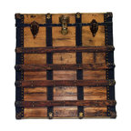 "Wall Hanging Trunk Face - Genuine antique and vintage trunk parts, assembled using real brass plated trunk nails and mounted on 3/4"" plywood, ready to hang on any wall. Real antique wood taken from an antique trunk, real trunk vintage draw bolts, real vintage trunk lock, all real and authentic antique trunk part used. Black leather side trim, back-lined in black cotton velvet with all hanging hardware attached."