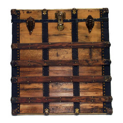 """Wall Hanging Trunk Face - Genuine antique and vintage trunk parts, assembled using real brass plated trunk nails and mounted on 3/4"""" plywood, ready to hang on any wall. Real antique wood taken from an antique trunk, real trunk vintage draw bolts, real vintage trunk lock, all real and authentic antique trunk part used. Black leather side trim, back-lined in black cotton velvet with all hanging hardware attached."""