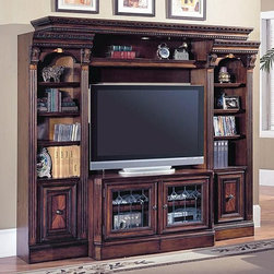 Parker House - 4 Pc Entertainment Center Wall w Expandable C - This expandable Huntington entertainment center brings traditional library styling to family rooms or living areas. Features include fluted columns with corbels and top molding. The group includes a console and bridge with slide-out sides for widescreen TVs in various sizes. Set includes TV Console, Expandable Bridge, Shelf & Back Panel, (2) 21 in. Open Top Bookcase. Traditional English Library. Solid Poplar and Maple veneers. Leaded glass door inserts with beveled diamond pattern. Multi-step Chestnut with accent shading and highlights, hand distressing, medium sheen top coat. Expandable Console (for use with #400 series Library Wall) opens from 48 in. to 72 in., the console is 27 in. High (most PH Consoles are 24 in. High). Front levelors that adjust from inside the base Cabinet allow for a easy and true instillation. Touch-up pen included. TV Console: 48-72 in. W x 20 1/2 in. W x 27 1/4. Expandable Bridge: 81 in. W x 20 1/2 in. D x 5 in. H. 21 in. Open Top Bookcase: 21 1/8 in. W x 17 3/4 in. D x 80 1/4 in. H