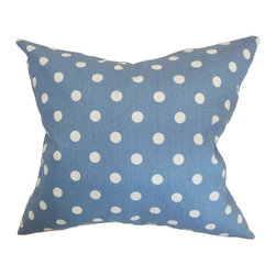The Pillow Collection - Nancy Polka Dots Pillow Baby Blue White - Playful and trendy, this polka dots throw pillow will surely steal everyone's attention. This accent pillow will instantly liven up your living room or bedroom with its polka dot pattern. The combination of baby blue and white hues make this a perfect decor piece for interiors with a contemporary, modern or retro theme. Pair up this square pillow with equally striking patterns for a pretty mix of elements. Made from 100% high-quality cotton fabric. Hidden zipper closure for easy cover removal.  Knife edge finish on all four sides.  Reversible pillow with the same fabric on the back side.  Spot cleaning suggested.