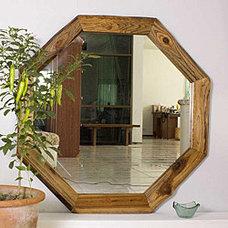 Teak Wood Walnut Oil Finish Octagon Mirror (Thailand) | Overstock.com