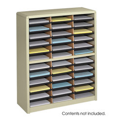 """Safco - Value Sorter Literature Organizer, 36 Compartment - Sand - There's always value in organizing! To organize effectively you need the right tools for the right space. The Value Sorter will improve neatness and is a great addition to any mail room, office, school or store. Use compartments as a mailbox, material holder or stationary sorter. The steel shell comes complete with support shelves and a solid fiberboard back to ensure stability and durability. Compartments are formed with heavy-duty corrugated fiberboard. Unit has over-sized compartments that comfortably hold up to 550 sheets of letter-size paper. Compartments are wide enough to easily accommodate letter-size file folders. Wide shelf fronts have built-in label holders (labels included).; Features: Material: Steel (shell, support shelves), Corrugated Fiberboard (shelves); Color: Sand; Finished Product Weight: 34 lbs.; Assembly Required: Yes; Tools Required: No; Limited Lifetime Warranty; Dimensions: 32 1/4""""W x 13 1/2""""D x 38""""H"""
