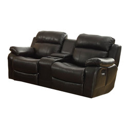 Homelegance - Homelegance Marille Double Glider Reclining Loveseat w/ Center Console in Black - With either the extended stretch of the reclining sofa or soothing rock of the reclining chair, your comfort is taken care of in the Marille Collection. Drop-down cup holders add additional function to the collection. The set is covered in a warm brown polished microfiber, brown bonded leather match or black bonded leather match. - 9724BLK-2.  Product features: Modern styling; Center Console; Covered in black bonded leather match. Product includes: Loveseat (1). Double Glider Reclining Loveseat w/ Center Console in Black Leather belongs to Marille Collection by Homelegance.