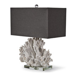 Kathy Kuo Home - Monterey Coastal Beach Charcoal White Coral Table Lamp - Seaside charisma collides with urban living in this fashionably modern lamp. The elemental beauty of coral gets a dressy update in a rectangular charcoal shade, perfect for your urban heart with the coastal soul.