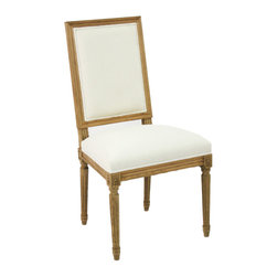 Louis Side Chair - Natural Oak with Off White Linen - With clean, squared lines that exhibit a geometric taste seldom found in French-inspired traditional furniture, the Louis Side Chair is nevertheless an unmistakable luxury for living, dining, or bedrooms, as the classic ornamentation of the chair's natural oak frame is richly detailed and elegantly composed.  Ivory linen upholstery fills the rectangular back and comfortable molded seat.