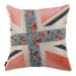 Jack Multi Pillow - There are plenty of Union Jack pillows out there, but this one really caught my eye because of the layers of velvet, the linen appliques and the slightly askew format. It has just the right amount of cheek!