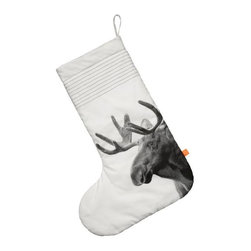 Christmas Stocking, Moose - Ginormous sock to hold lots of gifts, with the monochrome print of a moose and made of 100% cotton.