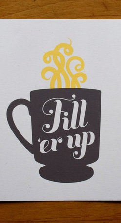 Retro Coffee Cup Screen-Print, Gray by Sibling - This little print would be a fun accent under my cabinet, next to the French press.