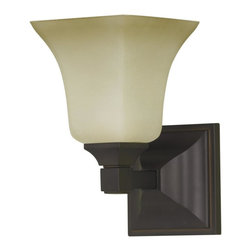 Murray Feiss - Murray Feiss VS12401-ORB American Foursquare Wall Sconce - Craftsman-Mission Wall Sconce in Oil Rubbed Bronze with Excavation glass from the American Foursquare Collection by Murray Feiss.