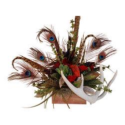 Succulent Antler Topper - Floral arrangement in a wooden box with deer antler