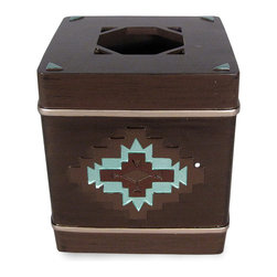 Grand Luxe - Veratex Pueblo Tissue Box Cover - Add a stylish place to store tissues or wipes with this Veratex Pueblo tissue box cover. Not only is it a convenient and modern accessory you'll find you can't do without,but its rustic finish and traditional pattern will enhance your bathroom's decor.