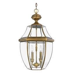 Quoizel Lighting - Quoizel NY1180A Newbury 4 Light Outdoor Pendant/Chandelier, Antique Brass - Long Description: When it comes to curb appeal, outdoor lighting plays a large part in creating a special ambiance. The classic design and beveled glass of the Newbury gives the outside of your home a rich elegance, without making it look over-embellished. It's a versatile look that coordinates with most any architectural style.