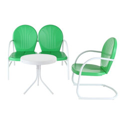 Crosley Furniture - 3-Pc Outdoor Conversation Seating Set - Includes loveseat, chair and side table. Easy to assemble. UV resistant. ISTA 3A certified. Warranty: 90 days. Made from sturdy steel. White and grasshopper green color. Assembly required. Loveseat: 41.13 in. W x 29.5 in. D x 34.5 in. H (29 lbs.). Chair: 28.5 in. W x 21 in. D x 34.5 in. H (15 lbs.). Side table: 20 in. Dia. x 19.5 in. H (8.4 lbs.). Overall weight: 52.4 lbs.Relax outside for hours on our nostalgically inspired Griffith outdoor furniture. Kick back while you reminisce in this seating set, designed to withstand the hottest of summer days and other harsh conditions. The furnitures complement your outdoor accessories.