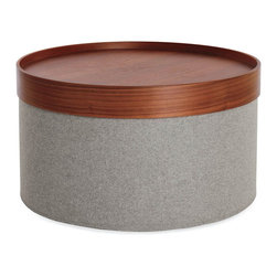 Design Within Reach - Drum Pouf, Wide | Design Within Reach - I love how this modern pouf looks with and without the handy removable serving tray. It has such a sleek and modern design.