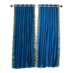 Indian Selections - Turquoise Ring Top  Sheer Sari Caf̩ Curtain / Drape / Panel  - 43W x 24L - Piece - Size of each curtain: 43 Inches wide X 24 Inches drop .  Made from Polyester Sari fabric  Top: 2 Inch Ring Top. Can accommodate rods up to 1.5 inches diameter  Machine Wash
