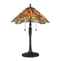 Quoizel - Quoizel TF1510TVB Sanders Tiffany Table Lamp - Elegant Tiffany style is a timeless staple of home decor.  The various designs are handassembled using the copper foil technique developed by Louis Comfort Tiffany.  With an enormous variety of colors and patterns to choose from, Quoizel Tiffany�۪s have become more popular than ever.