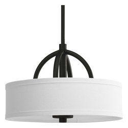Progress Lighting - Progress Lighting P3878-80 Calven Two-Light Drum Pendant with Fabric Glass Shade - 2-light foyer fixture with bold, graphic lines, oversized opal linen shades and a sculptural framework.Features: