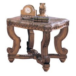 Homelegance - Homelegance Tarantula Square End Table with Marble Top - These old world Mediterranean styled tables are rich in the heritage look. Featuring in a burnish brown cherry finish and a beveled marble top.