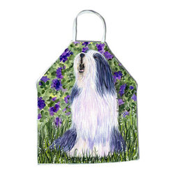 Caroline's Treasures - Bearded Collie Apron SS8602APRON - Apron, Bib Style, 27 in H x 31 in W; 100 percent  Ultra Spun Poly, White, braided nylon tie straps, sewn cloth neckband. These bib style aprons are not just for cooking - they are also great for cleaning, gardening, art projects, and other activities, too!