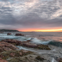 Images by Jon Evan - Morning Splash - This photograph was taken along the shore in Maine at Acadia National Park. It measures 20x30 and mounted on plexiglass. It comes pre-wired and ready to hang. Sold in a limited edition of 9.
