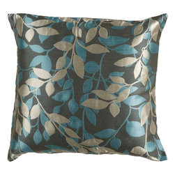 "Surya - Surya HH-059 18"" x 18"" Down Feathers Pillow Kit - Covered in a subtle leaf design, this pillow brings a little something extra to your room. Colors of teal, gray, and cream accent this decorative pillow. This pillow contains a down fill and a zipper closure. Add this 18"" x 18"" pillow to your collection today."