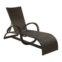 Frontgate - Halo Outdoor Chaise Lounge, Patio Furniture - Ideal for any environment, including oceanfront and saltwater destinations. Double-woven panels of high-quality resin wicker resist sagging and fading. Durable, powder-coated aluminum frames. Features 5 manually adjustable positions. Black walnut finish remains rich and true to the changing seasons. Curvilinear and lyrical the Halo Chaise Lounge by Summer Classics&reg makes a heavenly statement in your al fresco setting. Generously proportioned frames, superbly woven with high-quality resin wicker, provide comfort without the need of cushions. The Halo Chaise Lounge also offers 5 manually adjustable positions. Relax and enjoy in any outdoor setting, including beach and salt water environments. Part of the Halo Collection by Summer Classics&reg. .  . .   . Comfortable without cushions .