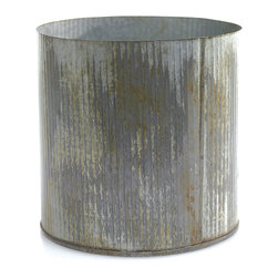 Daisy Rae Metal Pot - Antiqued and textured zinc is an interesting counterpoint to your flowers and other houseplants. Shake things up on your shelves by creating a uniquely rustic environment in this surprising metal pot.