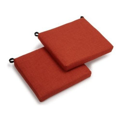 Blazing Needles 19 x 21 Solid Outdoor Seat Cushion - Set of 2 - Just when you thought your Adirondack chair couldn't get better - introducing the Blazing Needles 19 x 21 Solid Outdoor Seat Cushion - Set of 2. This stylish cushion makes your favorite seat even more comfortable so you can rest longer and isn't that the point of an Adirondack chair anyway? This premium outdoor fabric offers UV light and weatherproof protection. Offered in a range of colors and prints so you can find just what you're looking for. About Blazing NeedlesBlazing Needles L.P. specializes in the manufacture of cushions pillows and futons. As a sister company of International Caravan Inc. Blazing Needles provides a wide variety of cushions to fit the frames and furniture pieces made by International Caravan. In particular Blazing Needles' production of papasan cushions occupies a unique niche within their industry and sets them apart as a prime supplier for certain retailers. Other services they provide include contract filling sewing and import sourcing. The headquarters of International Caravan and Blazing Needles is located in Fort Worth Texas.
