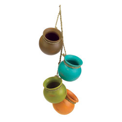 KOOLEKOO - Dangling Mini Pots - Straight from the kitchen of a Santa Fe gourmet, this darling decoration recalls the fabled cooking pots treasured for generations in the Southwest. Four graceful earthtone vessels with jute hanging loop are ready to brighten any corner!