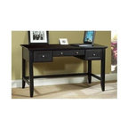 HomeStyles - Executive Desk in Ebony Finish - This wood desk with its classic frame will complement any decor. It's great for students, but is equally appealing for a home or office. An ebony finish will also blend into a contemporary setting with the added benefit of a central faux drawer for keyboards. The classic writing desk never goes out of style. Middle drawer is designed with a dropdown front for keyboard placement. * Three drawers on easy open glides. Center drawer with hinged drop-front to accommodate a keyboard. Made from Asian hardwoods. 54 in. W x 28 in. D x 30.25 in. H. Assembly Instructions