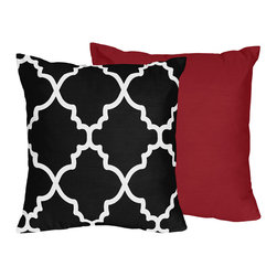 Sweet Jojo Designs - Sweet Jojo Designs Trellis Collection Black and White Lattice Print 16-inch Thro - Enhance comfort,and upgrade your decor with this throw pillow by Sweet Jojo Designs. Filled with soft polyester and covered in brushed microfiber,this reversible pillow adds contemporary style and vibrant colors to your interior setting.