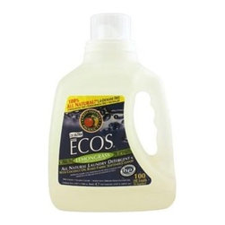 Ecos Ultra 2x All Natural Laundry Detergent - Lemongrass - 100 Fl Oz - This laundry liquid soap is made entirely from plants, but don't think that makes it any less powerful. Only 1.5 ounces will clean and protect an entire load of your clothes, with built-in fabric softener. Available in Lemongrass scent, Earth Friendly Products uses only plant-based, recycled, animal-friendly materials to make their many useful, environmentally friendly products, which are biodegradable and non-toxic.