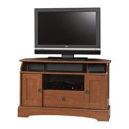 Sauder - Sauder Graham Hill Corner TV Stand in Autumn Maple - Sauder - TV Stands - 409024 - Adjustable shelf behind each door holds DVDs and CDs. Drawer with metal runners and safety stops features patented T-lock assembly system. Cubbyhole storage holds audio/video equipment. Autumn Maple finish.