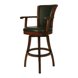 "Pastel Furniture - Glenwood Swivel Barstool - The Glenwood Barstool with arms is a beautifully made barstool that has a simple yet elegant design that is perfect for any decor. An ideal way to add a classic flair to any dining or entertaining area in your home. This swivel barstool features a quality wood frame with sturdy legs and foot rest finished in Feher Black. The padded seat is upholstered in Black Leather offering comfort and style. Available in 26"" counter or 30"" bar height. Assembled dimensions for this barstool: 44.5H x 22W x  23.62D"
