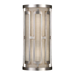 Fine Art Lamps - Allegretto Silver Sconce, 817150GU - Bring lovely light into your home through this slim, elegant wall sconce. Its metallic frame and white textured linen shade are purely and simply perfect together.