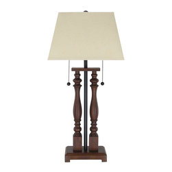 None - Denver Twin-Light Desk Lamp - This dual light desk lamp is a unique design of wood and metal,and has a timeless appeal that would be appropriate in any setting. The structured,fabric-covered bell shade tops the oak-finished base for a total height of 32.25-inches.
