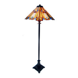 "63"" H Stained Glass Mission Style Pharaoh's Jeweled Floor Lamp - This magnificent floor lamp is designed in the shape of a pyramid.  It features golden rays like the sun and glass in the colors of jewels.  The base is a craftsman style with architectural traits.  Features two pull chains.  Primary colors are Gold, Blue, Red and Purple."