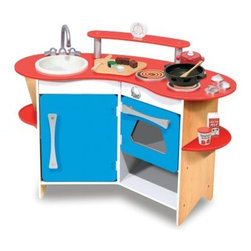 "Melissa and Doug Cook's Corner Wooden Kitchen - With everything your budding chef needs to prepare a great meal the Melissa and Doug Cook's Corner Wooden Kitchen is both compact and efficient. This play kitchen includes a removable sink a three-burner cook top an oven with clicking knobs a refrigerator with storage shelves a cutting board and even a real working time. Crafted from wood and beautifully painted this kitchen is designed to spur on the imagination and encourage your kids in playtime activities that mimic real life. Recommended ages 3-6 years. Dimensions: 26L x 36W x 16H inches. About Melissa & Doug ToysSince 1988 Melissa & Doug have grown into a beloved children's product company. They're known for their quality educational toys and items and have grown in double digits annually. The Melissa & Doug company has been named Vendor of the Year by such great retailers as FAO Schwarz Toys R Us and Learning Express and their toys have been honored as """"Toys of the Year"""" by Child Magazine FamilyFun Magazine and Parenting Magazine. Melissa & Doug - caring quality children's products."