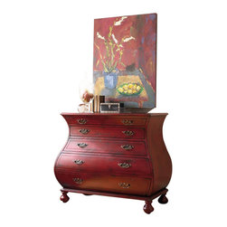 """Silver Nest - Red Wide Curve Chest- 44x22 38""""h - 3 Drawer Red Wide Curve Chest"""