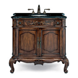Cole and Co - Provence Vanity Base, Large - This hand-made traditional French chest is constructed of the finest alder wood solids and select cherry veneers.  It is distressed and then finished by hand in our Aged Chestnut old-world finish with antiqued brass hardware. The Provence features traditional scrolls and floral panels, two upper. Dimensions: 41.125 in. x 22.75 in.