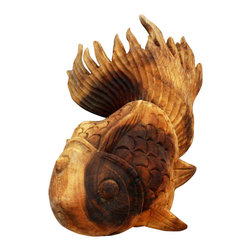 Kammika - Carved Puff Fish LH Sust Monkey Pod Wood 15 L x 8.5 W x 5.5 Ht w Eco Fr Tung Oil - Our Decorator Sustainable Monkey Pod Wood Carved Puff Fish Left Hand 15.25 inch length x 8.5 inch width x 5.5 inch height with Eco Friendly Natural Food-safe Tung Oil Finish art decor items are captivating. Intricately carved, they come in a left hand and right version, as shown in the photos. You can hang on a wall simulating swimming upstream, or place on pebbles in a garden scene indoor or outdoor. Grouped or alone, these beautiful fish are definitely a conversation item. Eco friendly, natural, Tung oil finish brings out and highlights the natural swirls and grain of the wood. These items have cracked naturally and may continue to do so a little more. Made from the remainders of our wood carvings, natural and sustainable materials are worked by skilled artisans to create unique eco friendly works of art. Natural Tung oil, polished to a matte, water resistant and food safe finish turns the light and dark portions to darker shades of brown over time, and the alkaline in the oil creates a honey orange color. These natural oils are translucent, so the wood grain detail is highlighted. There is no oily feel and cannot bleed into carpets. Made from the thick branches of the Acacia tree - where each branch is cut and carved to order (allowing the tree to continue growing), all products are dried in solar and or propane kilns. No chemicals are used in the process, ever. Each piece is kiln dried, sanded, hand rubbed with eco friendly all natural Tung oil; and then they are packaged with cartons from recycled cardboard with no plastic or other fillers. The color and grain of your piece of Nature will be unique, and may include small checks or cracks that occur when the wood is dried. Sizes are approximate. Products could have visible marks from tools used, patches from small repairs, knot holes, natural inclusions or holes. There may be various separations or cracks on your piece when it arrives. There may be some slight variation in size, color, texture, and finish color.Only listed product included.