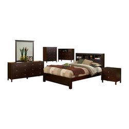 Alpine Furniture - Solana 6 PC Cal King Platform Bedroom Set with Bookcase Headboard - Solana 6 PC California King Platform Bedroom Set with Bookcase Headboard
