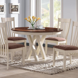 "5 PC Country Pecan White Wood Dining Set 42"" Round Table Chairs Fabric - This lovely country style dining set will look great in any style of home. The 48"" round table features a rustic pecan table top with beautiful inlays for impressive dining. Four matching side chairs feature stern bent slat backs, upholstered cushion seats for great comfort, and square tapered legs below. The set is crafted from select woods and okume veneers."