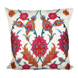 Design Accents Floral Pillow - Uzbek - A stylized pattern and bold, bright colors make the Design Accents Floral Pillow - Uzbek a gorgeous accent to your space. The soft, durable cotton construction of this contemporary design ensures lasting beauty. The hand-embroidered floral pattern features a bold and ethnic graphic sure to add a colorful flair to your home.