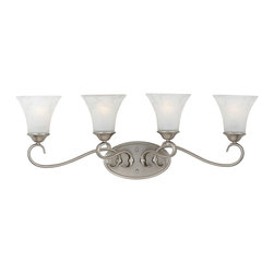 Quoizel - Quoizel 4-Light Duchess Bath Fixture in Antique Nickel - DH8604AN - Indulge in classic European elegance for your home with this refined design fit for royalty. The hand-forged iron is twisted into graceful curves, while the trumpeted shades celebrate the beauty of light with their warm gradation of color.